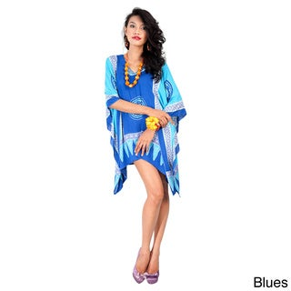 Women's Abstract Tiki Poncho (Indonesia)