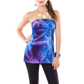 Womens Tie Dye Strapless Cover-up Top in Blue and Purple (Indonesia)