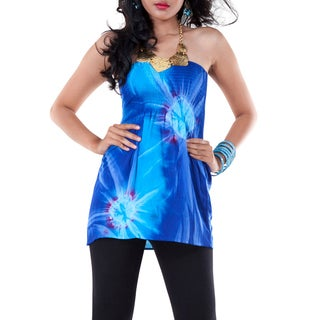 Womens Tie Dye Blue Strapless Cover-Up Top (Indonesia)