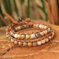Handcrafted Jasper and Quartz 'River Mystique' Bracelet (Thailand)