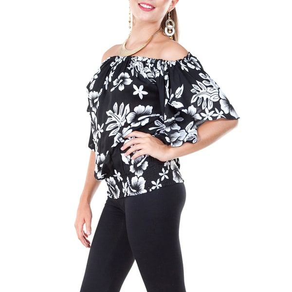 Womens Off The Shoulder Hibiscus Elastic Top Cover-up in Black/White (Indonesia)