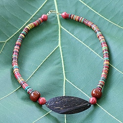 Handcrafted Coconut Shell and Horn 'Rainbow Delight' Necklace (Ghana)