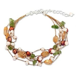 Multi-gemstone Pearl 'Awakening' Bracelet (4-7.5 mm) (Thailand)