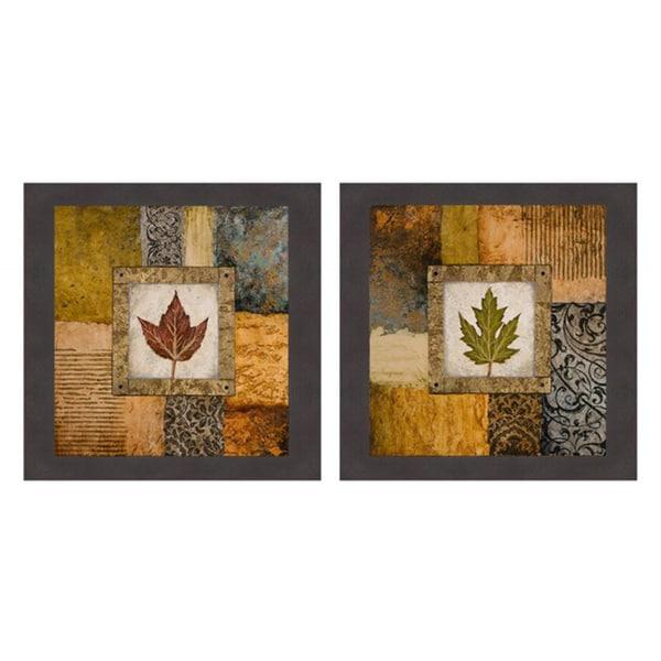 Michael Marcon 'Fallen Leaf I (red) & Fallen Leaf II (green)' Framed Print