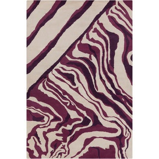Hand-tufted Allie Abstract Cream/ Purple Wool Rug (5' x 7'6)