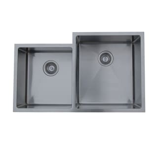 Ukinox Micro Series Satin Stainless Steel Double-bowl Undermount Sink
