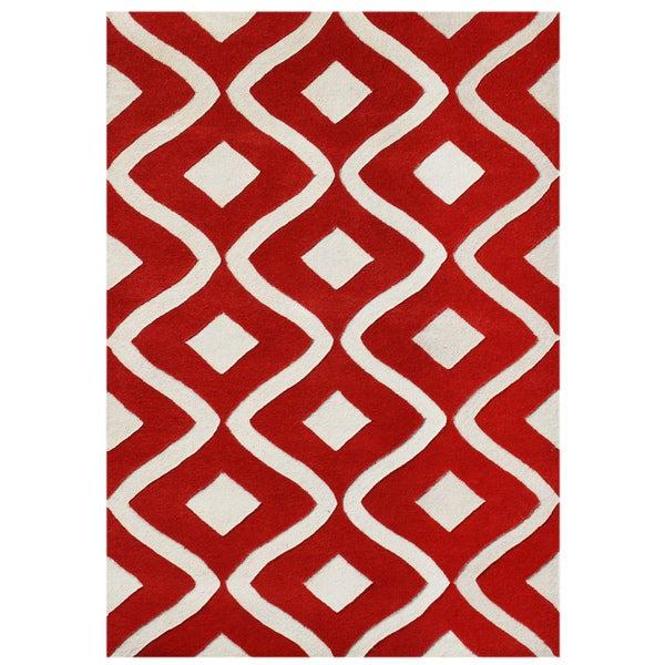 Alliyah Handmade Sabrina Red Blend Wool Rug (9' x 12')