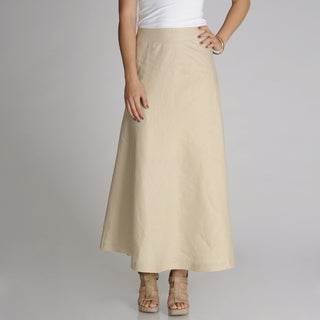 Grace Elements Women's Beige Linen Maxi Skirt