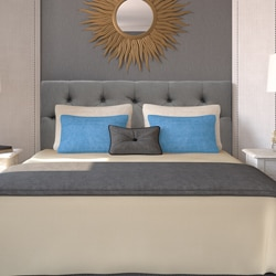 Klein Light Grey Diamond-tufted Upholstered Headboard