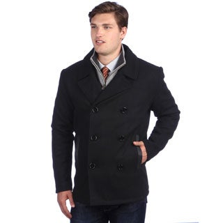 Ramonti Men's Black Wool-blend Double Breasted Pea Coat