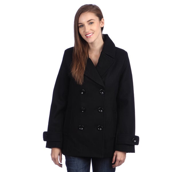 Ramonti Women's Double Breasted Black Wool Pea Coat