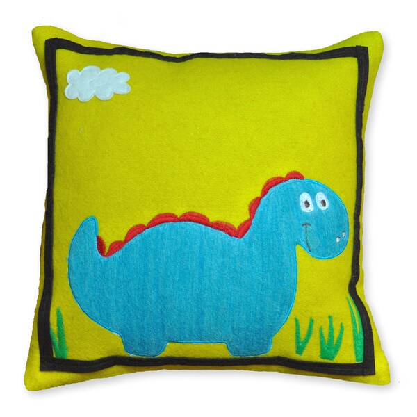 Colorful Dinosaur Wool Accent Pillow