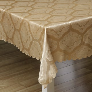 Two-tone Gold Shell Damask 57x119-inch Rectangular Tablecloth