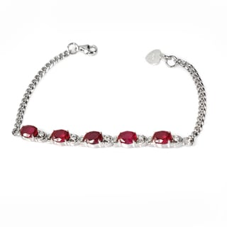 De Buman Sterling Silver Created Ruby and Cubic Zirconia Bracelet