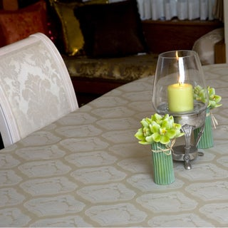 Two-tone Olive and Sage Diamond Damask Rectangular Tablecloth