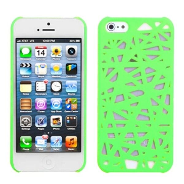 INSTEN Green Bird Nest Mesh Hard Plastic Phone Case Cover for Apple iPhone 5