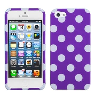 BasAcc White Polka Dots/ Purple Hard Case for Apple iPhone 5
