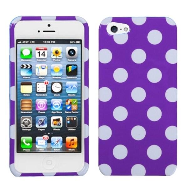 BasAcc White Polka Dots/ Purple Hard Case for Apple iPhone 5