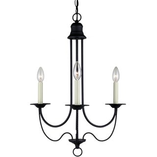 'Plymouth' Blacksmith Finished 3-Light Single Tier Chandelier
