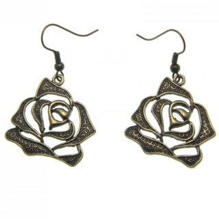 Handmade Vintage Copper Rose Earrings (China)