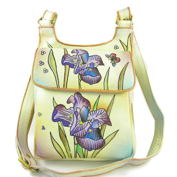 Hand-Painted Cow Leather Crossbody Bag (India)