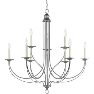'Plymouth' Weathered Pewter 9-Light Multi-tiered Chandelier