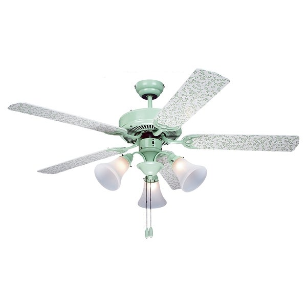 'Vines' 52-inch Green and White Patterned 3-light Ceiling Fan