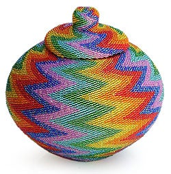 Handcrafted Beaded Rattan 'Rainbow Lightning' Basket (Indonesia)