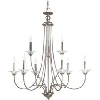 Lemont 9-light Antique Brushed Nickel Candelabra Chandelier with Clear Glass Bobeches