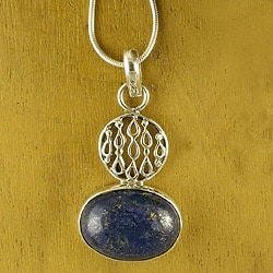 Sterling Silver 'Hidden Lake' Lapis Lazuli Necklace (India)