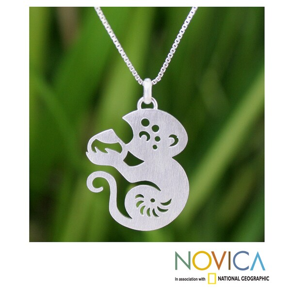 Sterling Silver 'Chinese Zodiac Monkey' Necklace (Thailand)