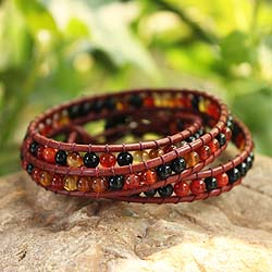 Agate 'Earth Protection' Leather Wrap Bracelet (Thailand)