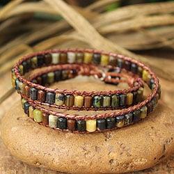 Jasper 'Spicy Caramel' Cotton Wrap Bracelet (Thailand)