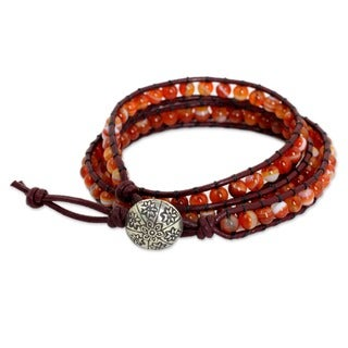 Silver Leather 'Forest Flower' Carnelian Bracelet (Thailand)