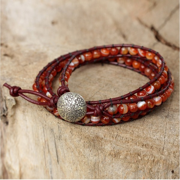 Silver Leather 'Forest Flower' Carnelian Bracelet (Thailand)