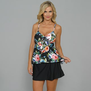 Island World Women's Black Floral Swing Tankini 2-piece