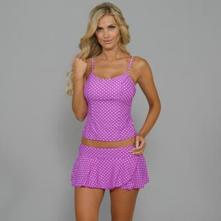 Antiqua Women's Lilac Polka-dot Tankini/ Skirtini 2-piece Swimsuit