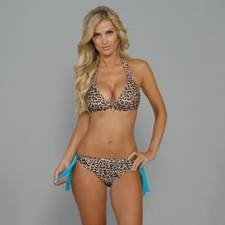 Antiqua Women's Cheetah Halter/ Side-tie Bikini