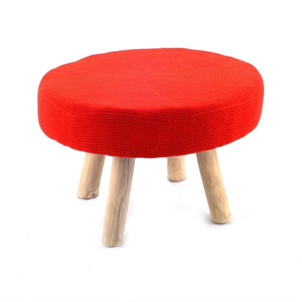 nuLOOM Red Wood Ottoman Stool