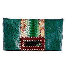 Vintage Reign 'Apaps' Green Foldover Clutch