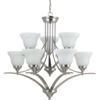 'Brockton' Brushed Nickel 9-Light Multi-tiered Chandelier