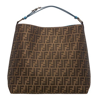 Fendi Zucca Jacquard Canvas Teal Leather Hobo Bag