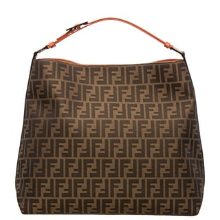 Fendi Zucca Jacquard Canvas Orange Leather Hobo Bag