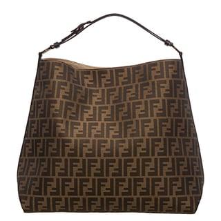 Fendi Zucca Jacquard Canvas Chocolate Leather Hobo Bag