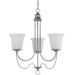 Sea Gull Lighting Plymouth 3-light Weathered Pewter Single-tier Chandelier