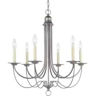 Sea Gull Lighting Plymouth 6-light Weathered Pewter Single-tier Chandelier
