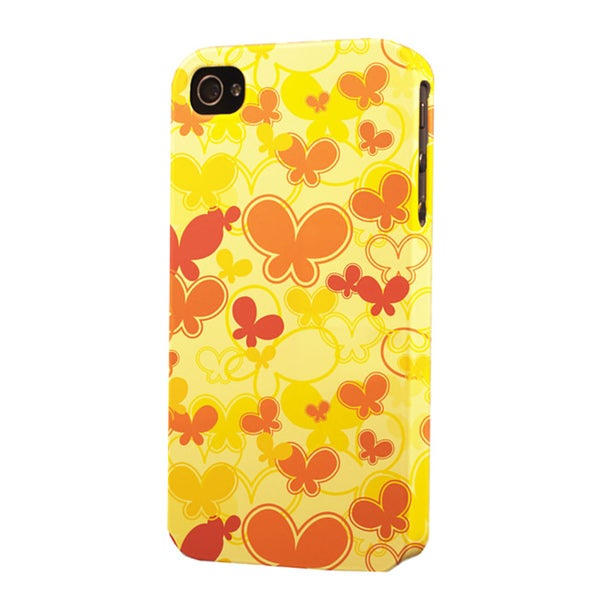 Plastic Yellow Butterflies Dimensional Apple iPhone Case