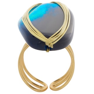 NEXTE Jewelry Goldtone Pacific Blue Agate Open Back Ring