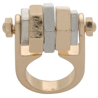 NEXTE Jewelry Two-tone Nuts and Bolts Spinning Kinetic Fashion Ring
