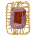 NEXTE Jewelry Goldtone Burnt Orange Crystal Open Back Ring